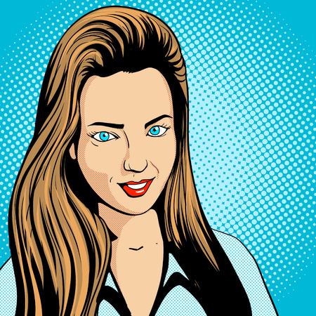 Junge Frau mit langen Haaren Pop-Art Retro-Vektor-Illustration suchen. Comic-Stil Nachahmung