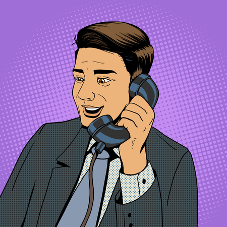 historietas: Hombre de negocios hablando por teléfono pop ilustración de estilo retro del arte del vector. Hombre y cómic teléfono imitación