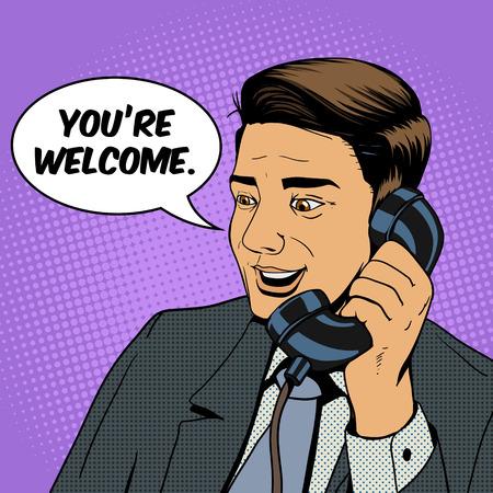 Imprenditore, parlando al telefono illustrazione pop art stile retrò vettore. Uomo e telefono fumetti imitazione Archivio Fotografico - 47420262