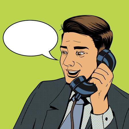 Homme d'affaires à parler au téléphone pop art de vecteur de style rétro illustration. L'homme et le téléphone de bande dessinée imitation Illustration
