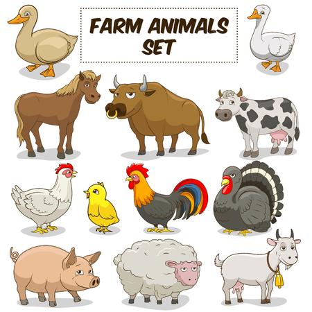 animal cock: Animali del fumetto Funny Farm insieme variopinto illustrazione vettoriale
