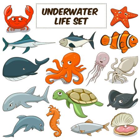 tiburon caricatura: De dibujos animados divertidos animales de la vida bajo el agua conjunto de colores ilustraci�n vectorial