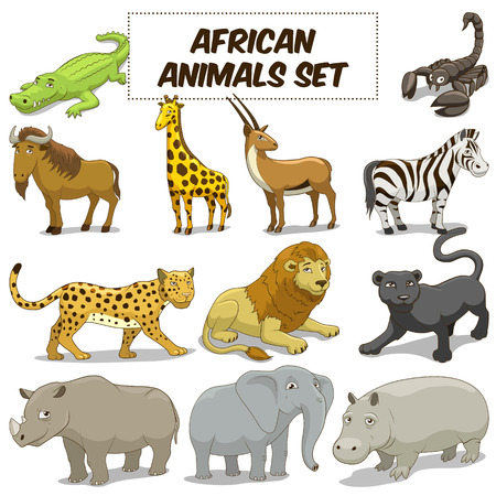 Cartoon funny african savannah animals colorful set vector illustration