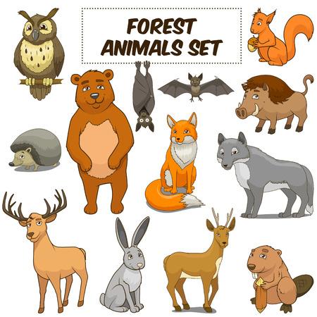 Cartoon grappig dieren in het bos kleurrijke set vector illustratie