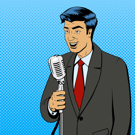 Businessman Politiker Redner Sänger Mann mit Mikrofon Pop-Art Retro-Stil Comic-Vektor-Illustration