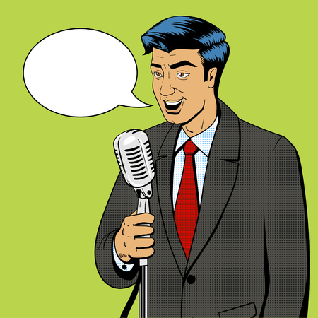Businessman politician speaker singer man with microphone pop art retro style comic book vector illustration Ilustrace