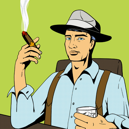 cigar smoking man: Man drinking whiskey alcohol and smoking cigar pop art retro vintage style vector illustration. Comic book imitation