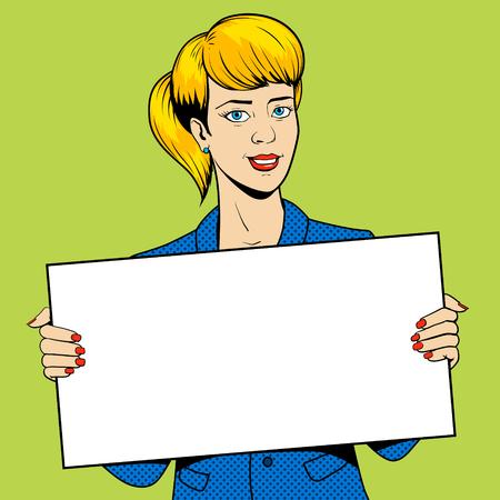 Jeune femme beauté fille tenant un signe pop art vecteur de style rétro illustration. imitation de style de bande dessinée