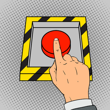comic strip: Hand push the red button pop art retro style vector illustration. Comic book imitation