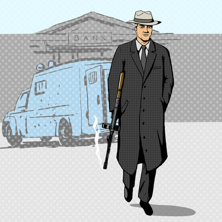 Gangster man with a gun walking from bank pop art retro style  vector illustration. Comic book imitation