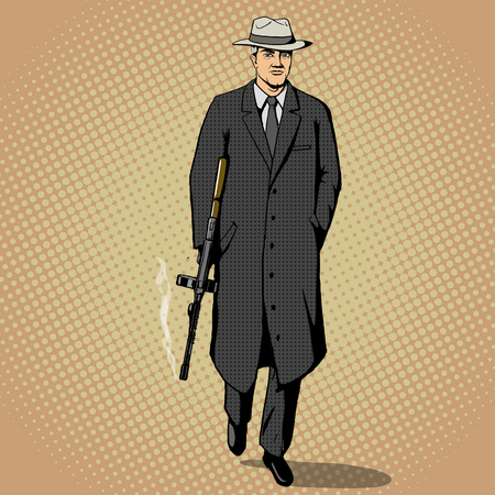 cartoon gangster: Gangster man with a gun walking pop art retro style  vector illustration. Comic book imitation