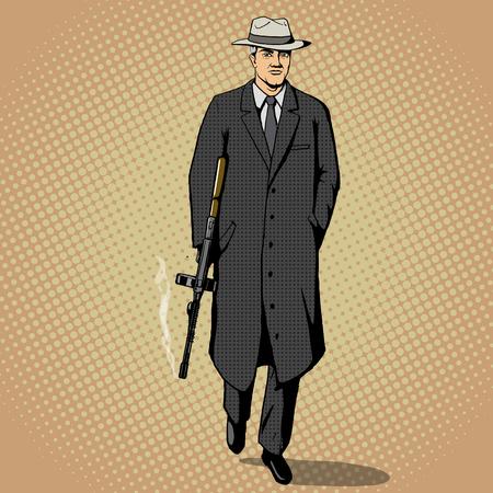 Gangster man with a gun walking pop art retro style vector illustration. Comic book imitation Vector Illustration