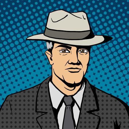 Gangster Mann mit Hut Pop-Art-Retro-Stil Vektor-Illustration. Comic-Imitation Standard-Bild - 47420687