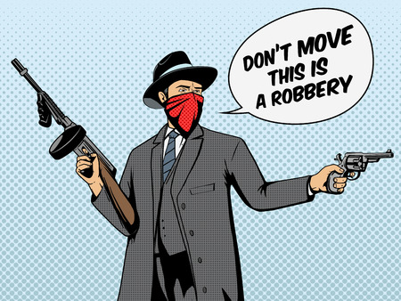 Gangster met pistool overval pop art retro stijl vector illustratie. Comic book imitatie Stock Illustratie