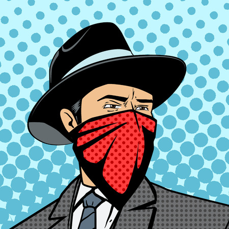 cartoon gangster: Gangster with hidden face pop art retro style  vector illustration. Comic book imitation Illustration