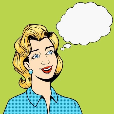 Fille sans pensées avec des yeux fous vecteur bande dessinée pop art style rétro illustration