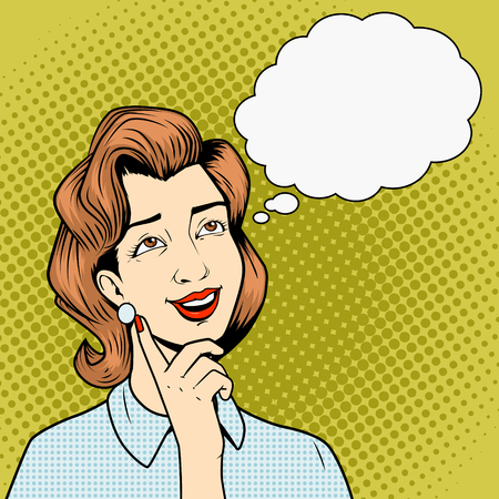 jeune fille: Fille de penser � quelque chose de vecteur comique r�tro style art livre pop illustration