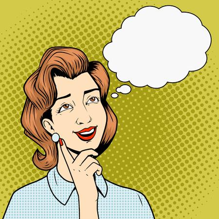 women thinking: Muchacha que piensa en la ilustraci�n del vector del estilo retro del arte pop c�mico libro algo Vectores