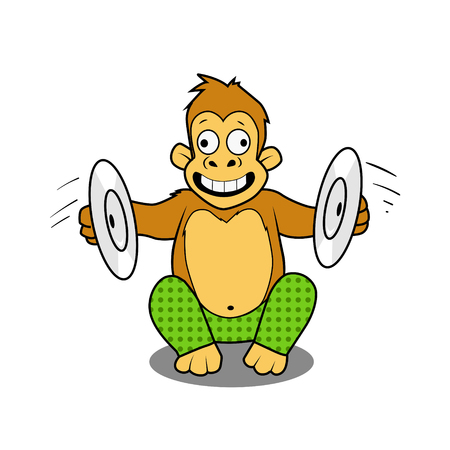 cymbals: Monkey playing cymbals cartoon comic book style vector illustration