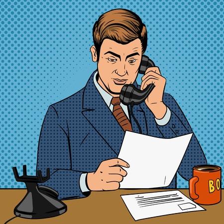 Zakenman praten aan de telefoon pop art retro stijl vector illustratie. Man en telefoon comic book imitatie Stockfoto - 47836972