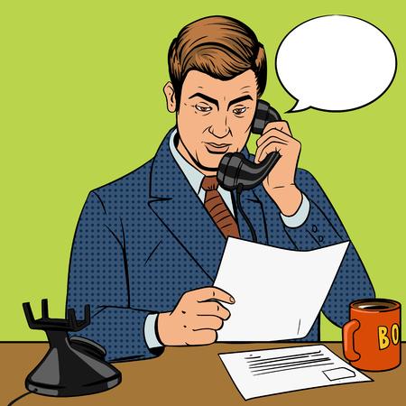 illustrazione uomo: Businessman talking on the phone pop art retro style vector illustration. Man and phone comic book imitation
