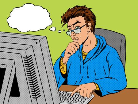 debugging: Coder programmer developer at work comic book pop art retro style vector illustration. Software engineer.