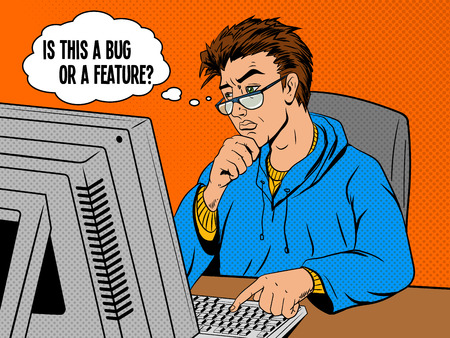 features: Coder programmer developer at work comic book pop art retro style vector illustration. Software engineer.