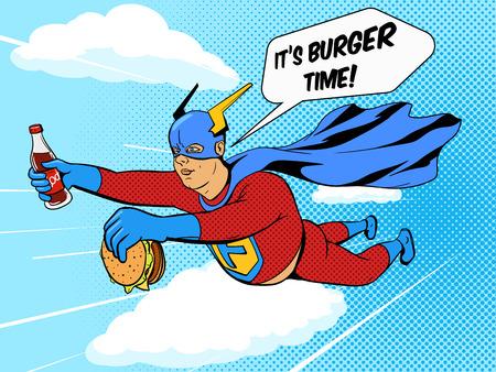 Superhelden dicker Mann mit Burger Cartoon Pop-Art-Retro-Stil Vektor-Illustration. Comic-Stil Bijouterie Illustration