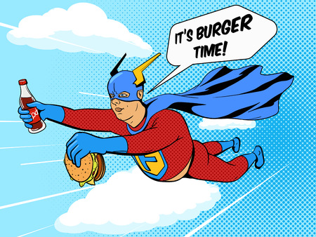 Superhero fat man with burger cartoon pop art retro style vector illustration. Comic book style imitation