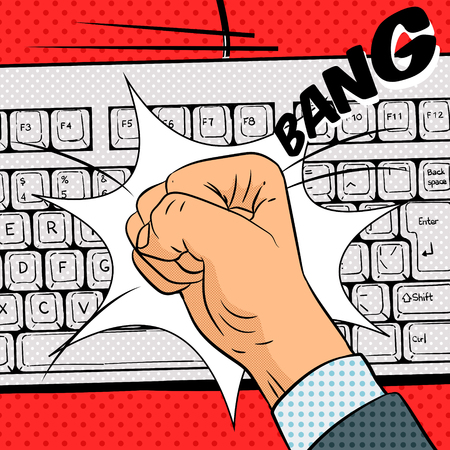 hits: Fist hits the keyboard pop art retro  style vector illustration. Comic book imitation Illustration