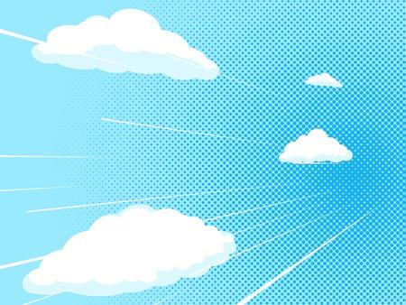 Blauwe hemel comic book pop-art halftone textuur stijl vector illustratie