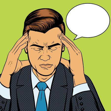 頭痛、ポップアートのスタイル レトロなベクトル図で苦しんでいる男。医療のイラスト。コミック スタイル。
