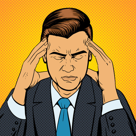 historietas: Hombre que sufre con dolor de cabeza, el estilo del arte pop retro ilustración vectorial. Ilustración médica. El estilo del cómic. Vectores