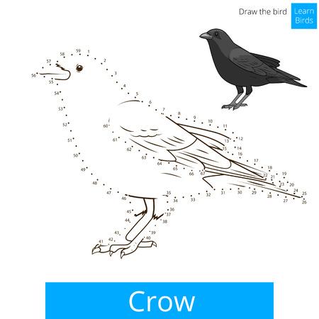 Crow aprender juego educativo pájaros aprender a dibujar ilustración vectorial