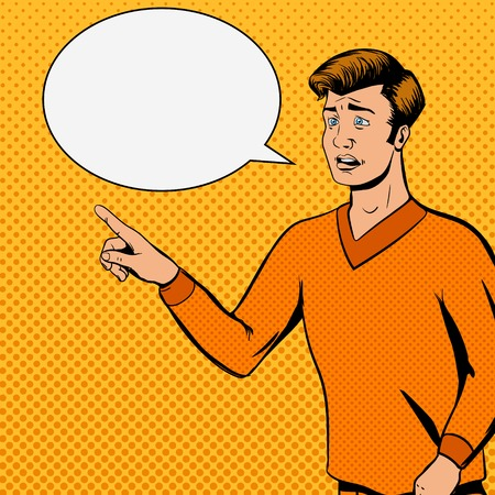 preguntando: hombre tira cómica habla con la ilustración del vector de la cara triste. imitación del cómic. estilo retro del arte pop Vectores