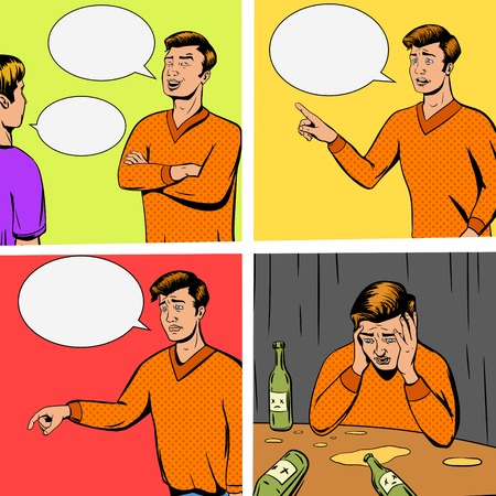 fiasco: Comic strip with debate of two persons and disappointing vector illustration. Comic book imitation. Pop art retro style