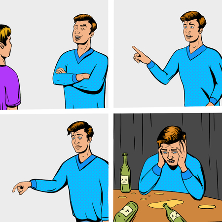 hombre caricatura: tira c�mica con el debate de dos personas y la ilustraci�n vectorial decepcionante. imitaci�n del c�mic. estilo retro del arte pop