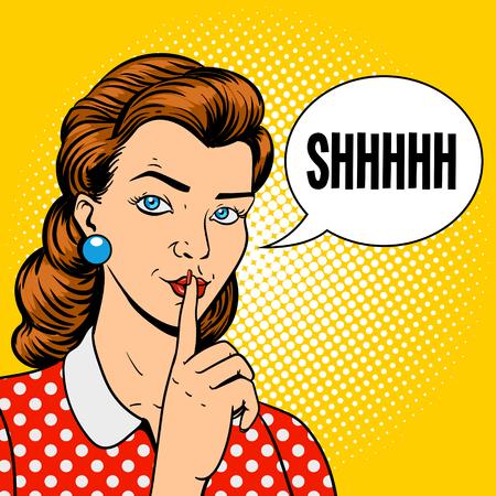 Girl with finger silence gesture pop art retro style vector illustration. Comic book imitation