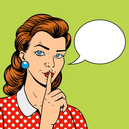 hush hush: Girl with finger silence gesture pop art retro style vector illustration. Comic book imitation