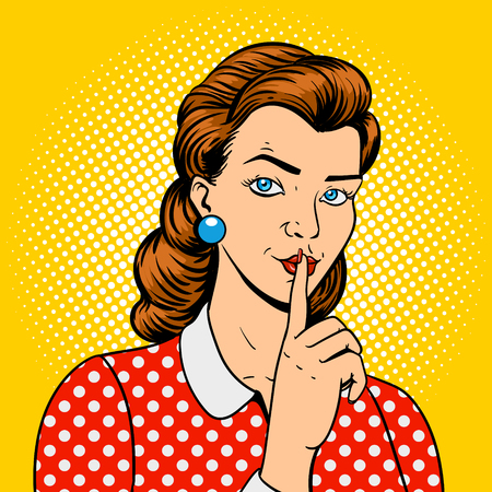 poster art: Girl with finger silence gesture pop art retro style vector illustration. Comic book imitation