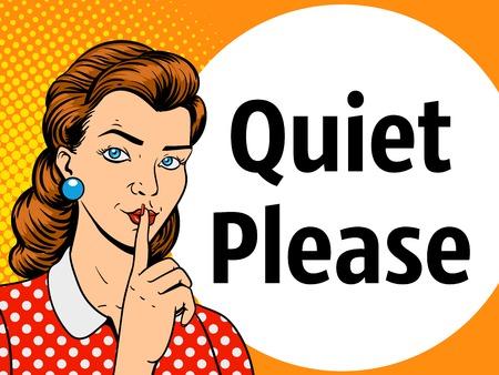 silence: Girl with finger silence gesture pop art retro style vector illustration. Comic book imitation