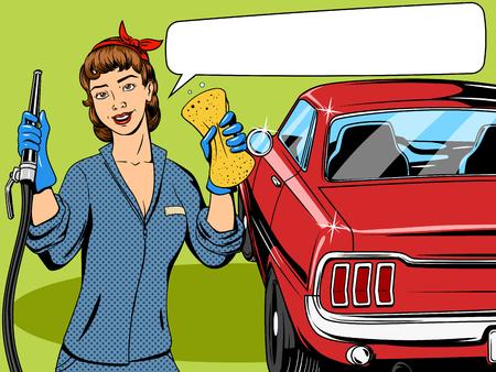 coche antiguo: Colada de la muchacha del coche retro pop c�mic ilustraci�n de estilo de arte