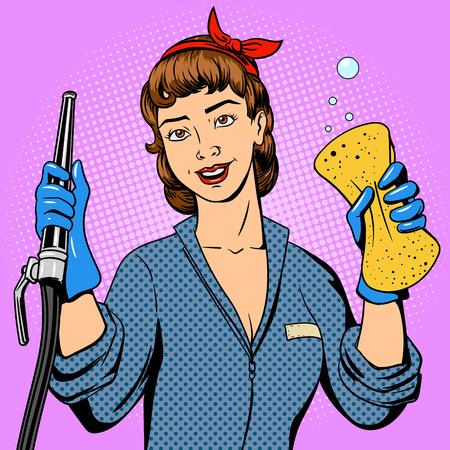 Autowaschanlage Mädchen Comic-Retro-Pop-Art-Stil Illustration