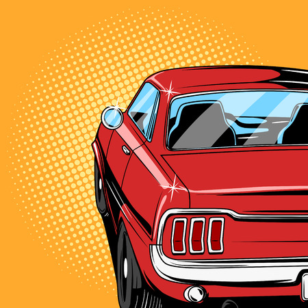 old car: Red car comic book retro pop art style illustration