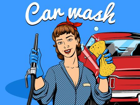 coche antiguo: Car wash girl comic book retro pop art style illustration Vectores