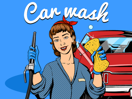 Car wash girl comic book retro pop art style illustration Illustration
