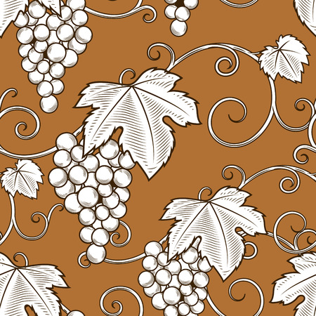 winemaking: Grape vine branches seamless pattern background vector illustration. Engraving style. Brown color Illustration