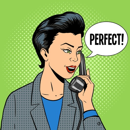 phone and call: Business woman with phone comic book pop art retro style illustration