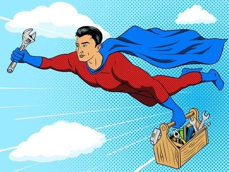 Superhero man with tool box comic book pop art retro style vector illustration. Comic book imitation Illustration