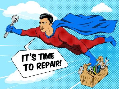 Superhero man with tool box comic book pop art retro style vector illustration. Comic book imitation Ilustração